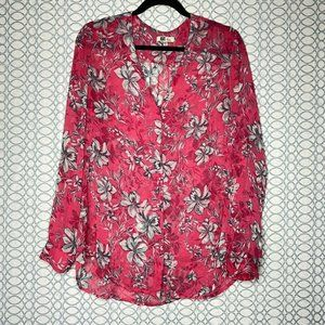 Kut From The Kloth Sz L Pink Floral Button Down